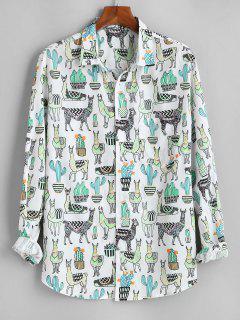 Cactus Camel Print Button Up Pocket Shirt - White 3xl