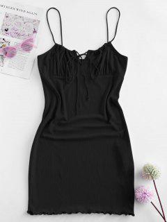 ZAFUL Ribbed Lettuce Tie Cami Mini Dress - Black S