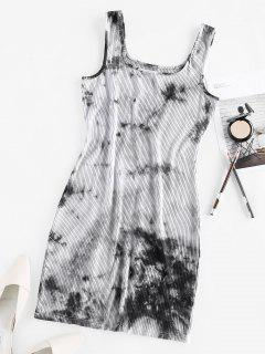 ZAFUL Ribbed Tie Dye Bodycon Tank Dress - Multi S