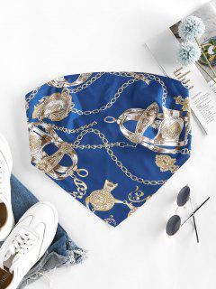 ZAFUL 3D Chain Print Strapless Bandana Top - Blueberry Blue Xl