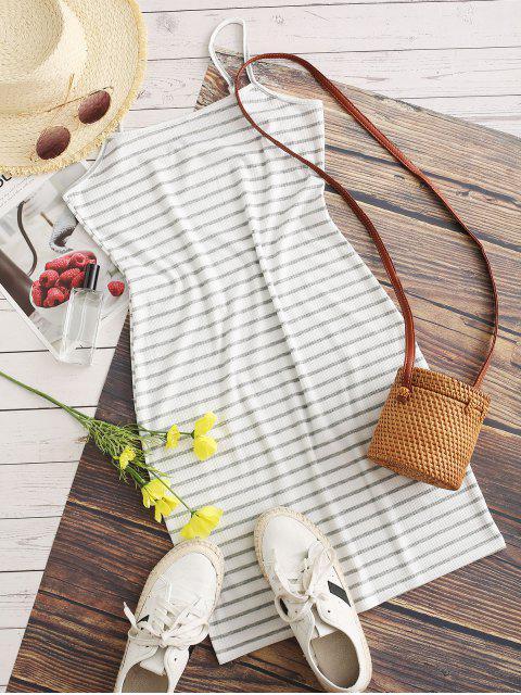 hot Striped Ribbed Bodycon Cami Dress - WHITE XL Mobile