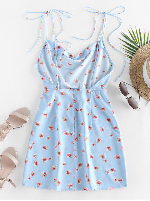 sale ZAFUL Ditsy Print Tie Shoulder Backless Dress - LIGHT SKY BLUE XL Mobile