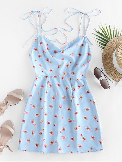 ladies ZAFUL Ditsy Print Tie Shoulder Backless Dress - LIGHT SKY BLUE S Mobile