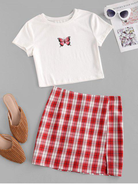best Plaid Butterfly Print Two Piece Dress - RED M Mobile