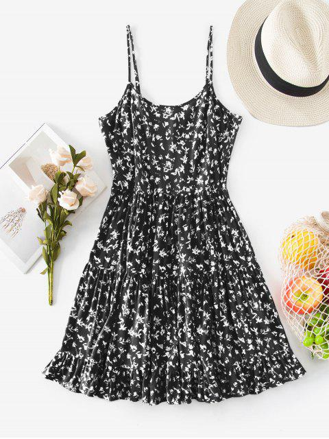 chic ZAFUL Tiered Ditsy Print Sundress - BLACK S Mobile
