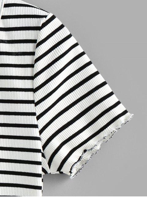 ZAFUL Geripptes T-Shirt mit V Ausschnitt - Weiß M Mobile