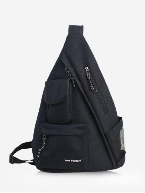 buy One Strap Multi-pocket Large Capacity Backpack - BLACK  Mobile