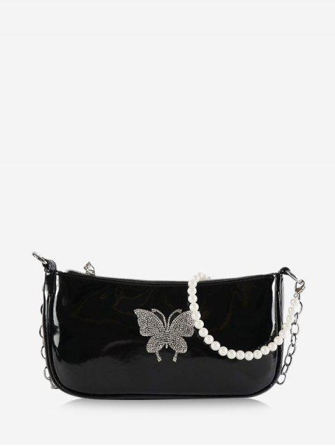 Butterfly Pattern Faux Pearl Shoulder Bag - أسود  Mobile