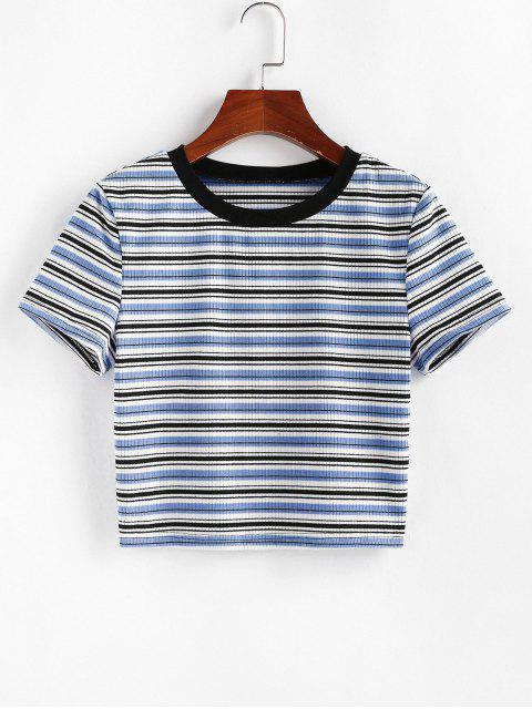 fancy ZAFUL Striped Ribbed Crop T-shirt - MULTI-C S Mobile