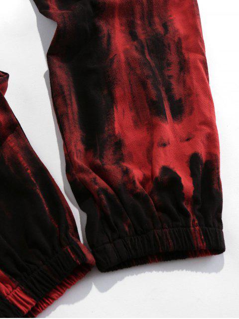 ZAFUL Pantalones Deportivos con Estampado de Teñido de Corbata - Color rojo oscuro 2XL Mobile