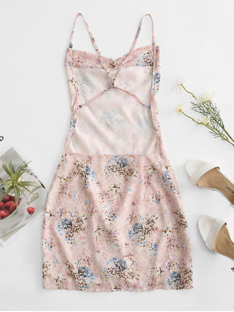 buy Criss Cross Open Back Floral Dress - LIGHT PINK XL Mobile