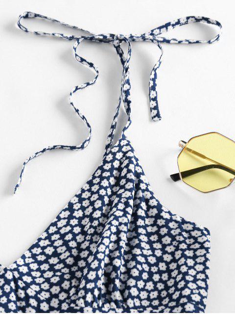 unique ZAFUL Tie Shoulder Ditsy Print Dress - DEEP BLUE S Mobile