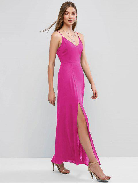 outfits ZAFUL Slit Maxi Cami Dress - ROSE RED S Mobile