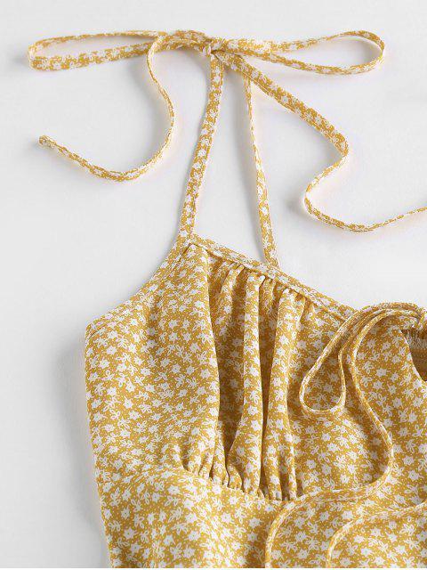 best ZAFUL Flounce Tie Shoulder Tiny Floral Romper - FALL LEAF BROWN M Mobile
