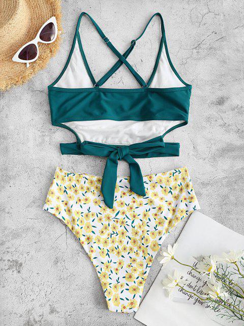 new ZAFUL Flower Print Criss Cross Tie Back Tankini Swimwear - DEEP GREEN XL Mobile
