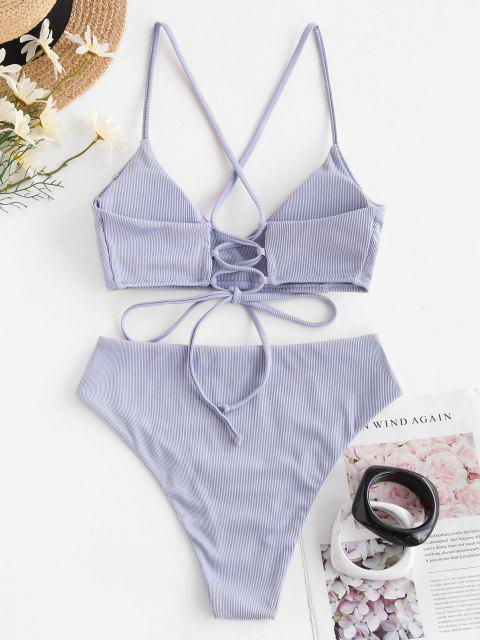 trendy ZAFUL Ribbed Cross Lace-up High Cut Bikini Swimwear - LIGHT PURPLE M Mobile