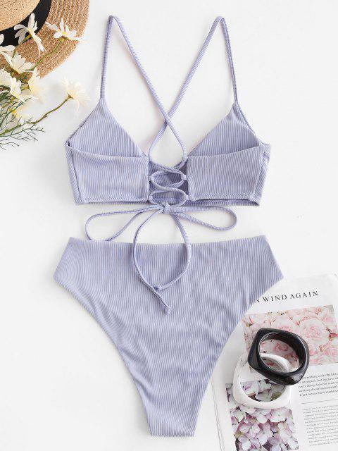 ZAFUL Bikini Badebekleidung mit Gerippten Schnürung und Hohem Schnitt - Helles Lila 2XL Mobile