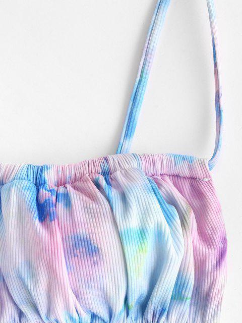 new ZAFUL Tie Dye Ribbed Drawstring String Bikini Swimwear - MULTI S Mobile