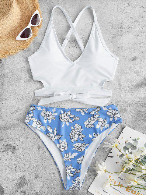 ZAFUL Tankini de Criss Cross Floral - Blanco M Mobile