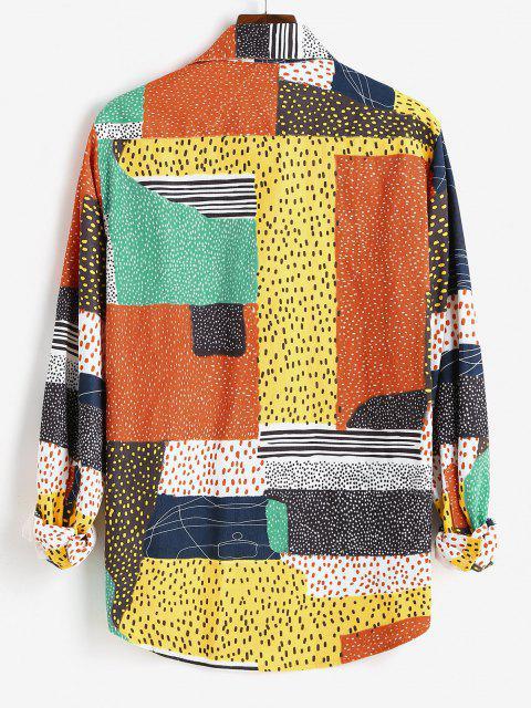 fashion Button Up Mix and Match Print Long Sleeve Corduroy Shirt - ORANGE S Mobile