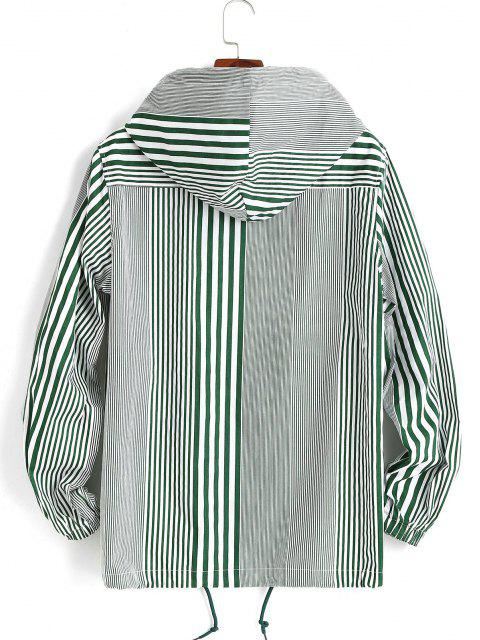 fashion Hooded Double Pockets Striped Print Drawstring Jacket - GREEN 2XL Mobile