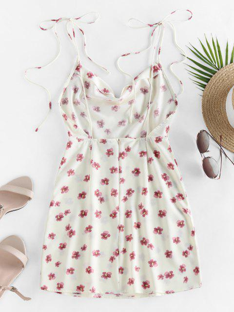ZAFUL Gebundenes Ditsydruck Schulter Kleid - Weiß M Mobile