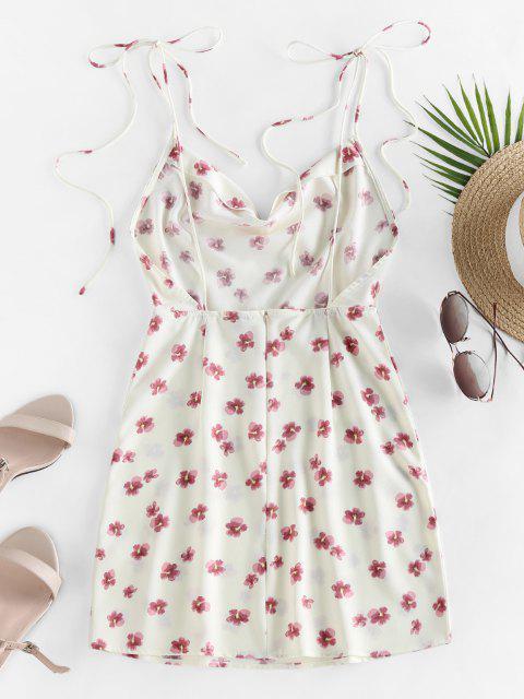ZAFUL Gebundenes Ditsydruck Schulter Kleid - Weiß XL Mobile