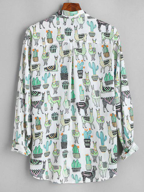 fancy Cactus Camel Print Button Up Pocket Shirt - WHITE M Mobile