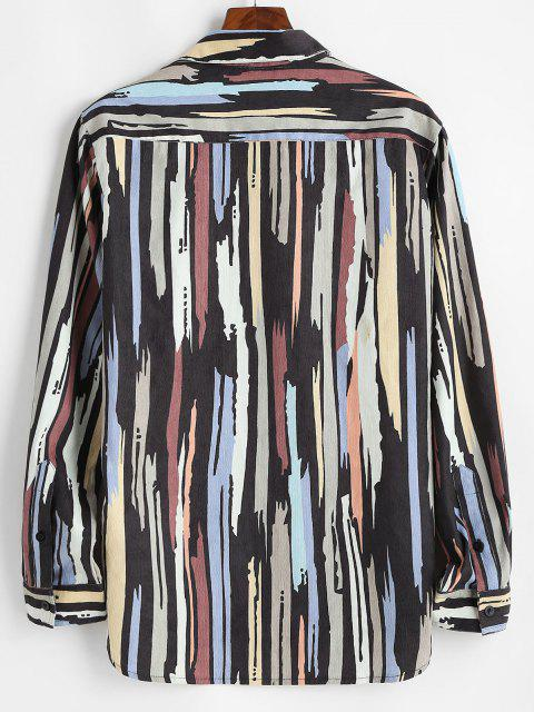 Camisa de Pana con Líneas Impresas de Colores - Negro XL Mobile