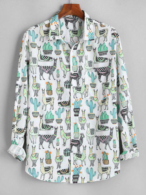 サボテンキャメル印刷ボタン付きポケットシャツ - 白 XL Mobile
