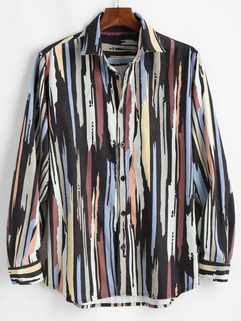 fancy Colorful Lines Print Button Up Corduroy Shirt - BLACK S Mobile