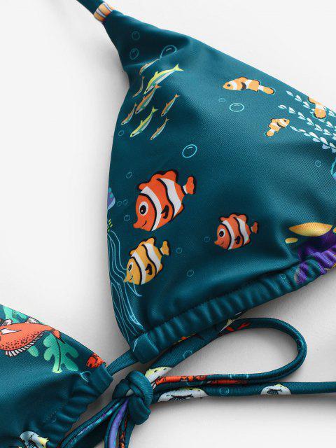 women's ZAFUL Halter Infauna Print Tie String Bikini Swimwear - DEEP GREEN L Mobile