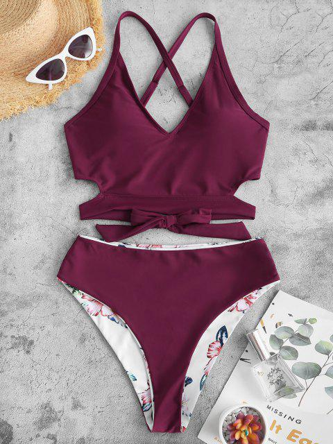 ZAFUL Tankini de Criss Cross Floral - Color rojo oscuro S Mobile