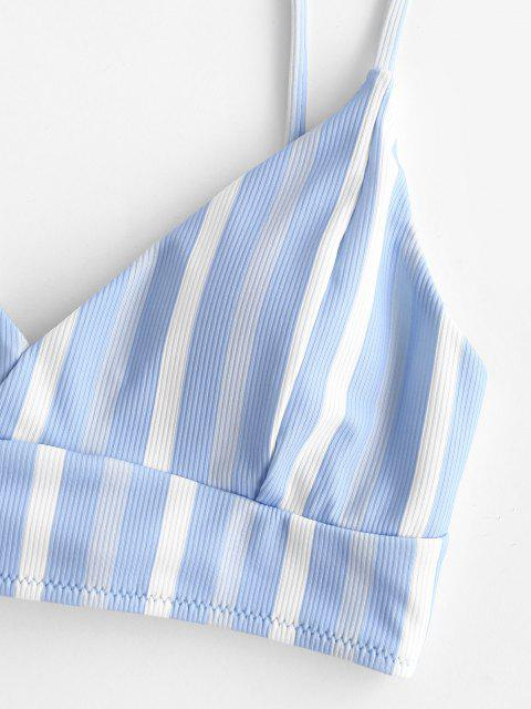 womens ZAFUL Striped Ribbed Cross Lace-up Bikini Top - LIGHT BLUE XL Mobile