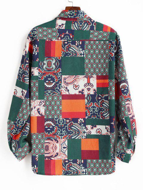 花パッチワーク印刷ボタン付きコーデュロイシャツ - 深緑 XL Mobile