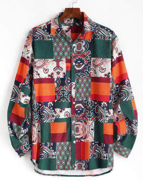 best Floral Patchwork Print Button Up Corduroy Shirt - DEEP GREEN XL Mobile