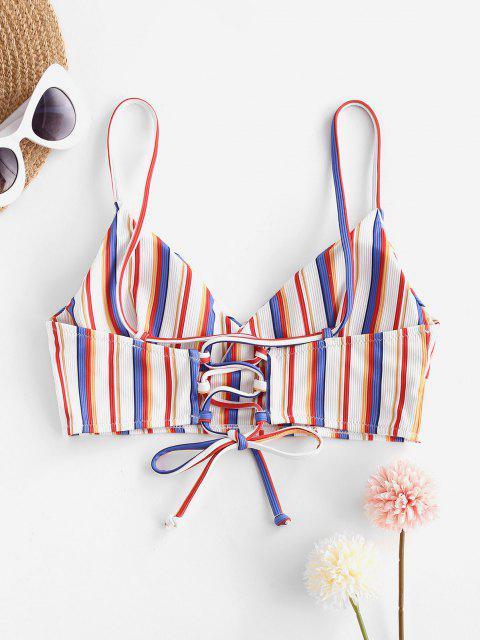 Bikini a Costine a Righe con Lacci di ZAFUL - Rosso M Mobile