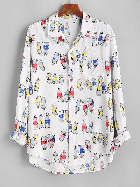 ボトル印刷ボタン付きポケットシャツ - 白 3XL Mobile