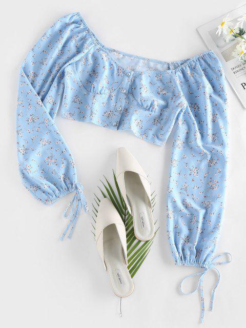 lady ZAFUL Tiny Floral Crop Blouse - POWDER BLUE XL Mobile