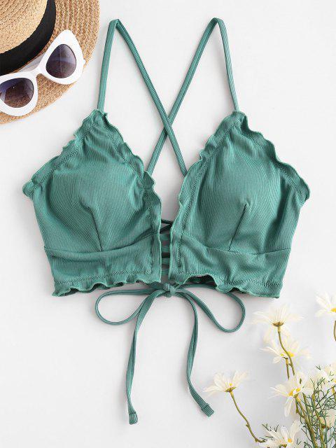 ZAFUL Ribbed Frilled Lace-up Ladder Bikini Top - اخضر فاتح XL Mobile