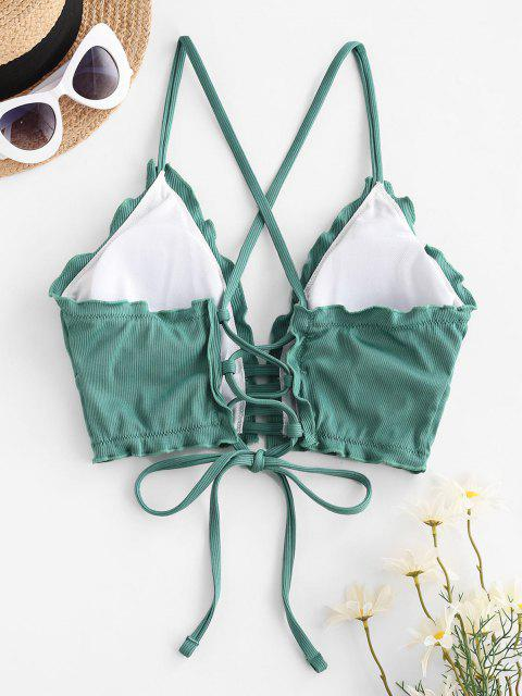 affordable ZAFUL Ribbed Frilled Lace-up Ladder Bikini Top - LIGHT GREEN XL Mobile