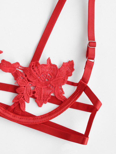 sale Crochet Lace Underwire Balconette Lingerie Set - RED S Mobile