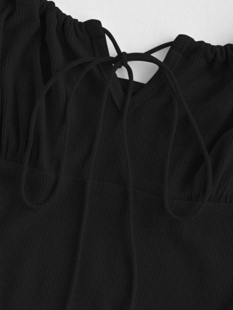 hot ZAFUL Ribbed Lettuce Tie Cami Mini Dress - BLACK L Mobile