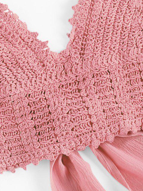 women ZAFUL Crochet Tie Back Frill Skirt Set - PINK L Mobile
