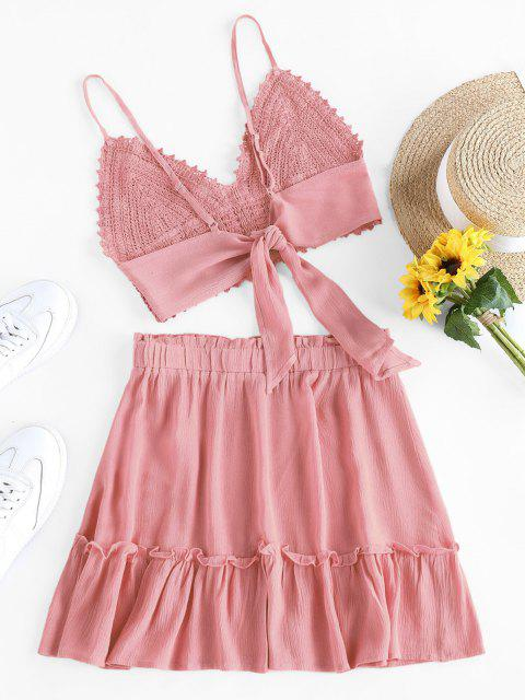 ladies ZAFUL Crochet Tie Back Frill Skirt Set - PINK M Mobile