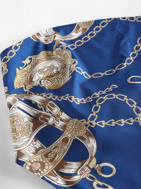 ZAFUL Haut Débardeur Asymétrique 3D Chaîne Imprimée sans Bretelle - Bleu Myrtille XL Mobile