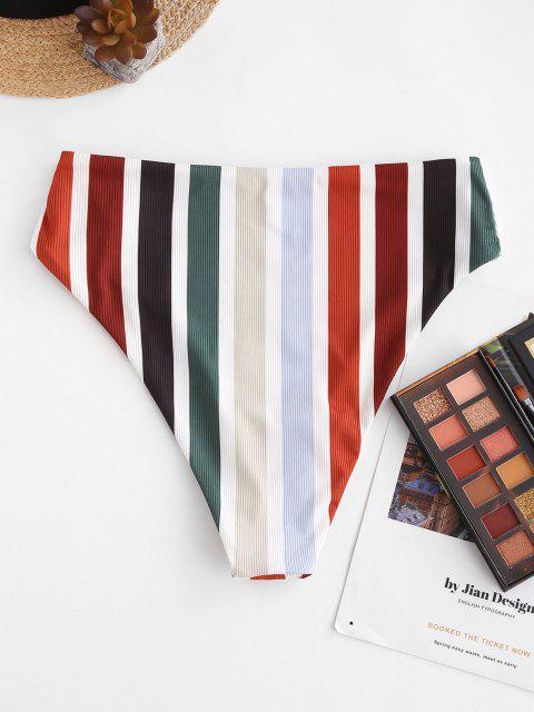ZAFUL Regenbogen Gerippte Bikinihose mit Hoher Taille - Multi S Mobile
