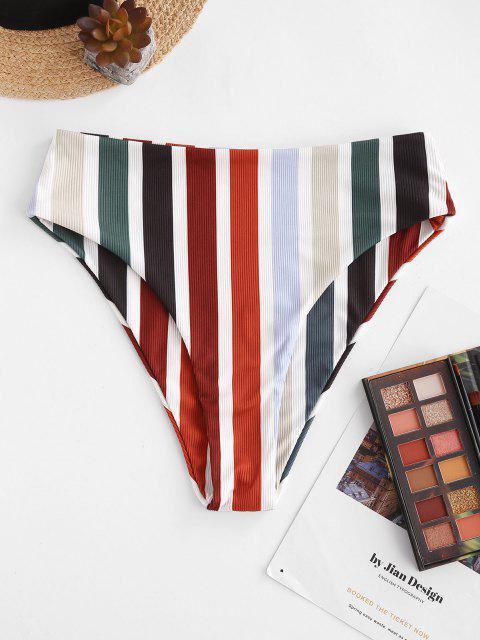 latest ZAFUL Rainbow Ribbed High Waisted Bikini Bottom - MULTI M Mobile