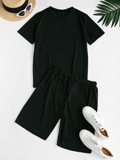 Lounge Plain Basic Two Piece Set - Black L