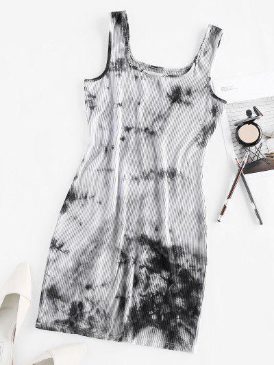 ZAFUL Ribbed Tie Dye Bodycon Tank Dress - Multi S